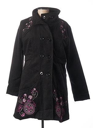 Manteau long noir COLINE pour femme