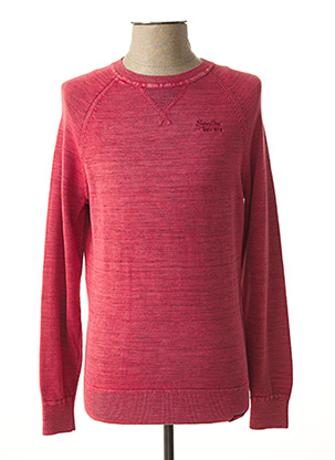 Pull col rond rose SUPERDRY pour homme