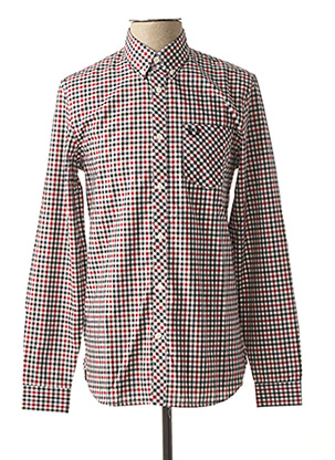 Chemise manches longues rouge FRED PERRY pour homme