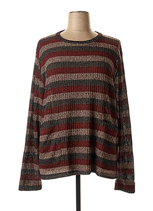 Pull col rond rouge FRANCK ANNA pour femme