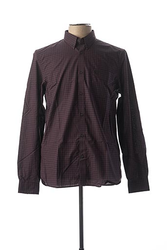 Chemise manches longues marron FRED PERRY pour homme