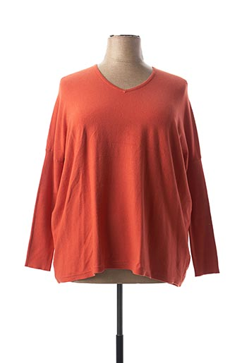Pull col V orange C.VALENTYNE pour femme