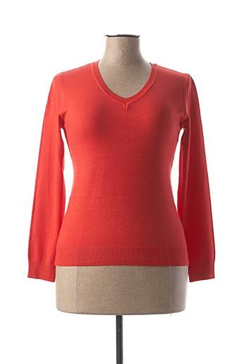Pull col V orange BY SWAN pour femme