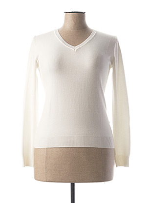 Pull col V blanc BY SWAN pour femme