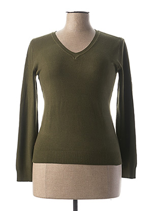 Pull col V vert BY SWAN pour femme