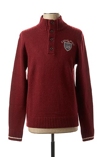 Pull col cheminée rouge CASUAL SPIRIT pour homme