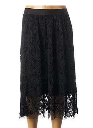 Jupe mi-longue noir ICHI pour femme