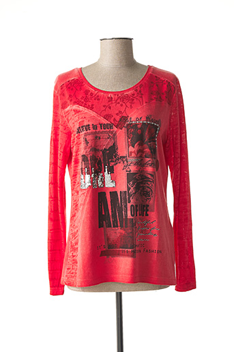 T-shirt manches longues rouge FRED SABATIER pour femme