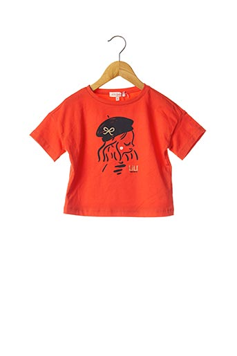 T-shirt manches courtes orange LILI GAUFRETTE pour fille