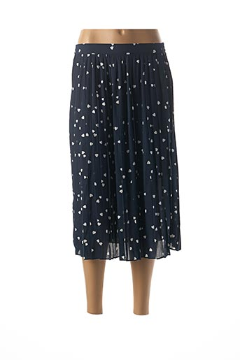 Jupe mi-longue bleu ICHI pour femme