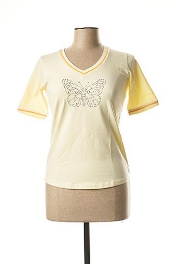 T-shirt manches courtes jaune CLOUD'S pour femme