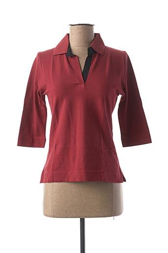 Polo manches longues rouge CLOUD'S pour femme