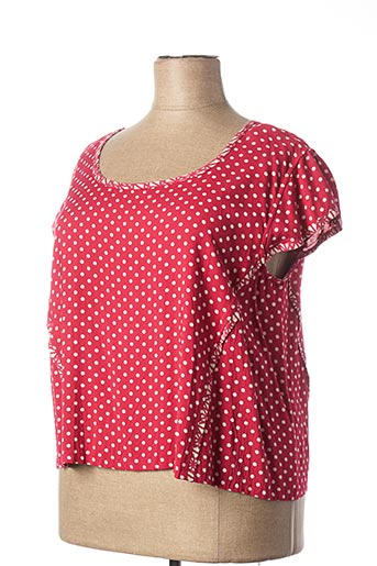 T-shirt manches courtes rouge NID D'ABEILLE pour femme