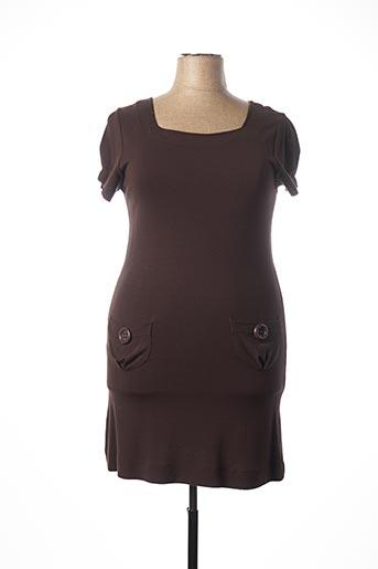 Robe mi-longue marron CAPUCCINA pour femme
