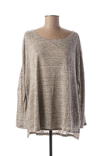 T-shirt manches longues gris ELEVEN PARIS pour femme