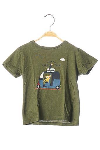 T-shirt manches courtes vert BOUT'CHOU pour garçon