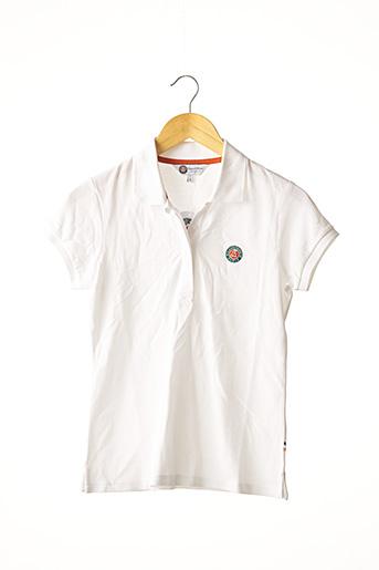 Polo manches courtes blanc ROLAND GARROS pour femme