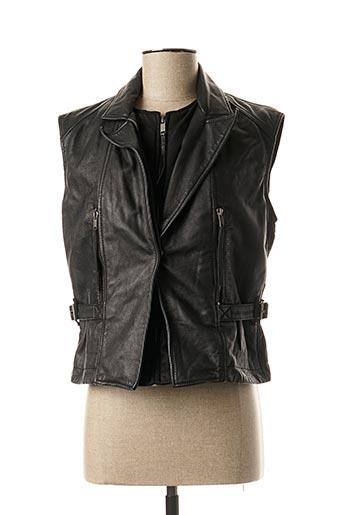 Veste en cuir noir DIESEL pour femme