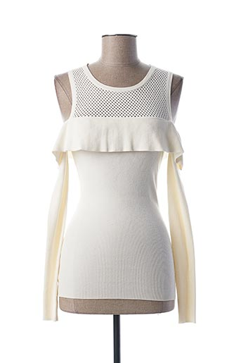 Pull col rond blanc GUESS pour femme