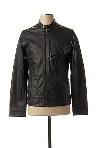 Veste en cuir noir G STAR pour homme