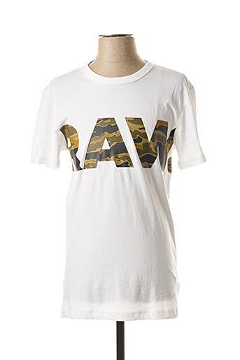 T-shirt manches courtes blanc G STAR pour homme