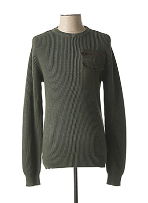 Pull col rond vert PETROL INDUSTRIES pour homme