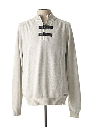 Pull col cheminée gris TEDDY SMITH pour homme