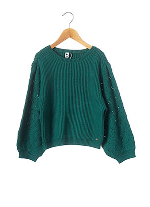 Pull col rond vert 3 POMMES pour fille