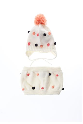 Bonnet blanc 3 POMMES pour fille
