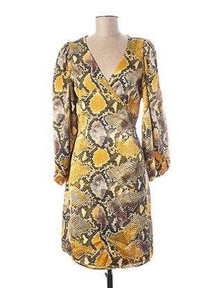 Robe mi-longue jaune ICHI pour femme