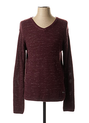Pull col V rouge EBOUND pour homme
