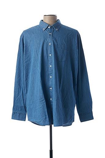 Chemise manches longues bleu SEIDEN STICKER pour homme