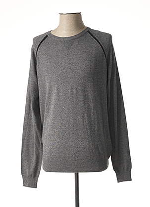 Pull col rond gris DELAHAYE pour homme