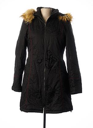 Manteau long noir L33 pour femme