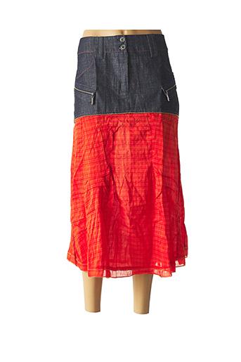 Jupe mi-longue orange L33 pour femme