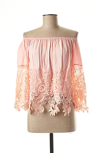 Blouse manches courtes rose FEE RED pour femme