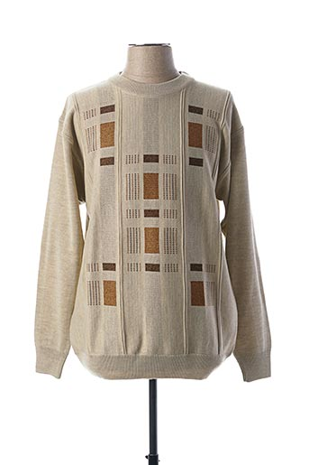Pull col rond beige EASYLINE pour homme