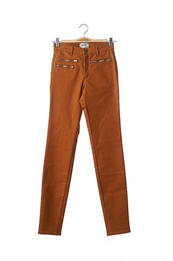 Jeans coupe slim marron COUTURIST pour femme