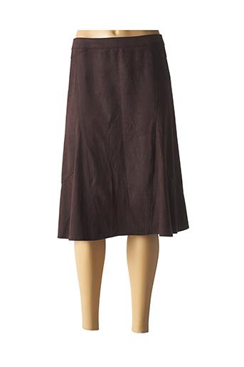 Jupe mi-longue marron CHRISTINE LAURE pour femme