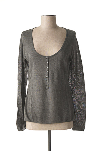 Pull col rond gris TEENFLO pour femme