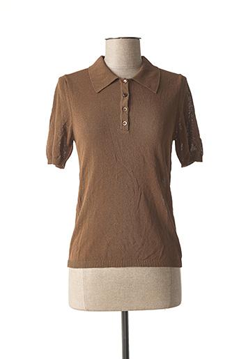 Polo manches courtes marron STEFAN GREEN pour femme