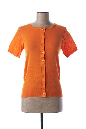 Gilet manches courtes orange STEFAN GREEN pour femme