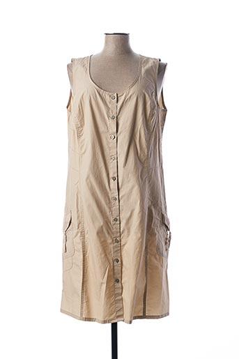 Robe mi-longue beige FLEUR DE SEL pour femme