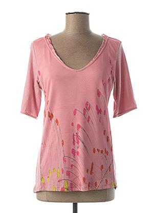 T-shirt manches courtes rose AVENTURES DES TOILES pour femme