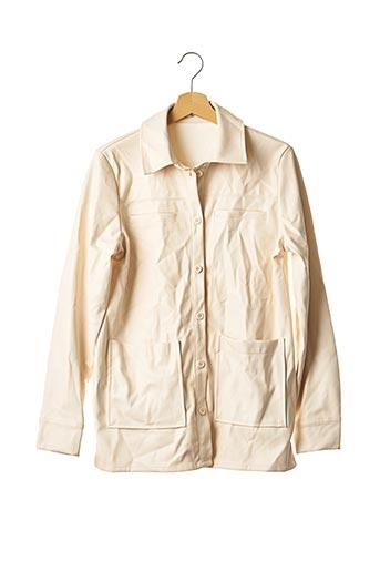 Veste simili cuir beige NA-KD pour femme