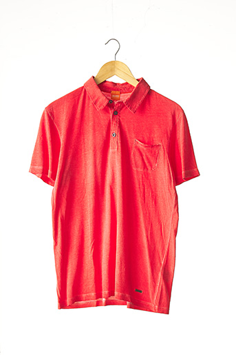 Polo manches longues rouge HUGO BOSS pour homme