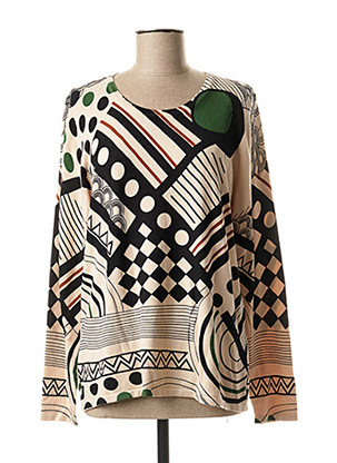 Pull col rond beige CHRISTINE LAURE pour femme