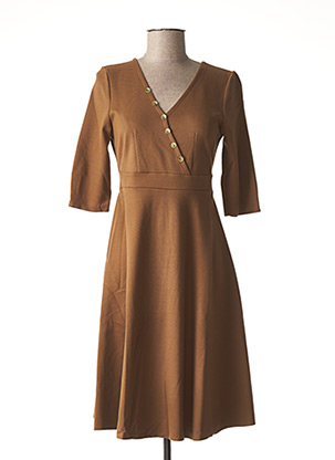 Robe mi-longue marron LA FEE MARABOUTEE pour femme