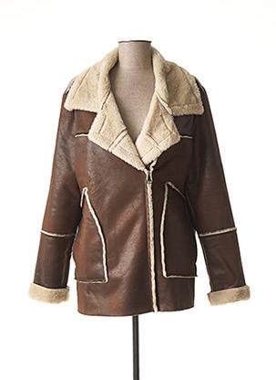 Manteau court marron LA FEE MARABOUTEE pour femme