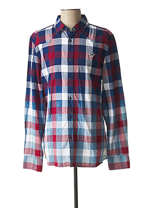 Chemise manches longues rouge MUSTANG pour homme